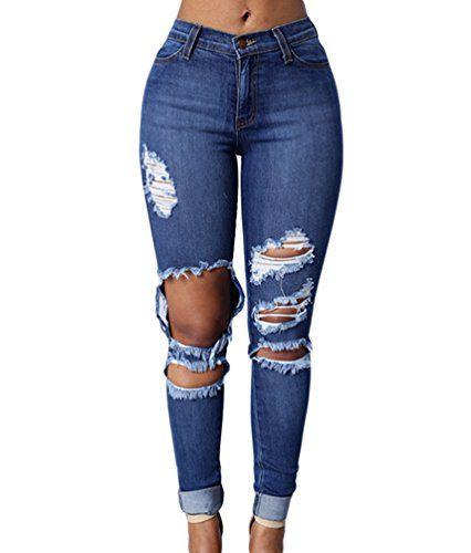 cd5357f809c ZKOO Rotos Agujero Vaqueros Mujer Elásticos Skinny Jeans Pantalones Algodón  Push up Flacos Jeans Leggings Elásticos