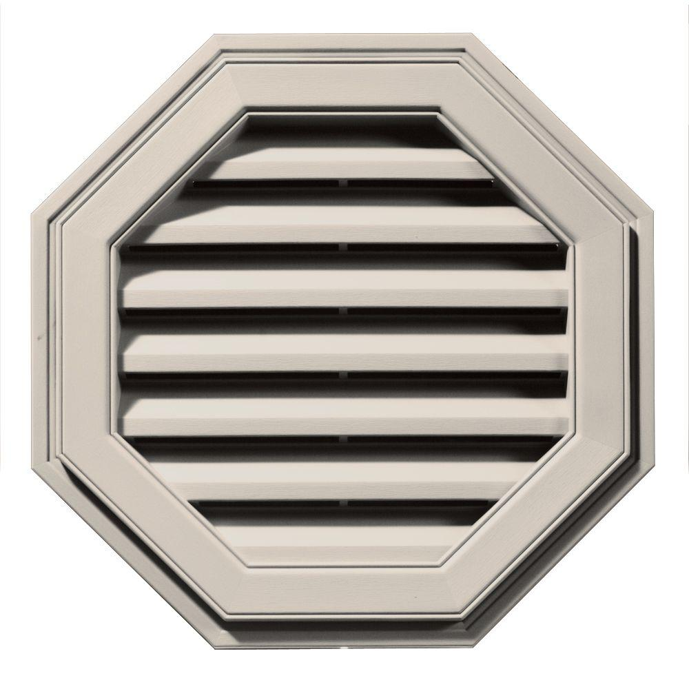 Builders Edge 22 in. x 22 in. Octagon Brown/Tan Plastic Built-in Screen Gable Louver Vent-120012222048 - The Home Depot