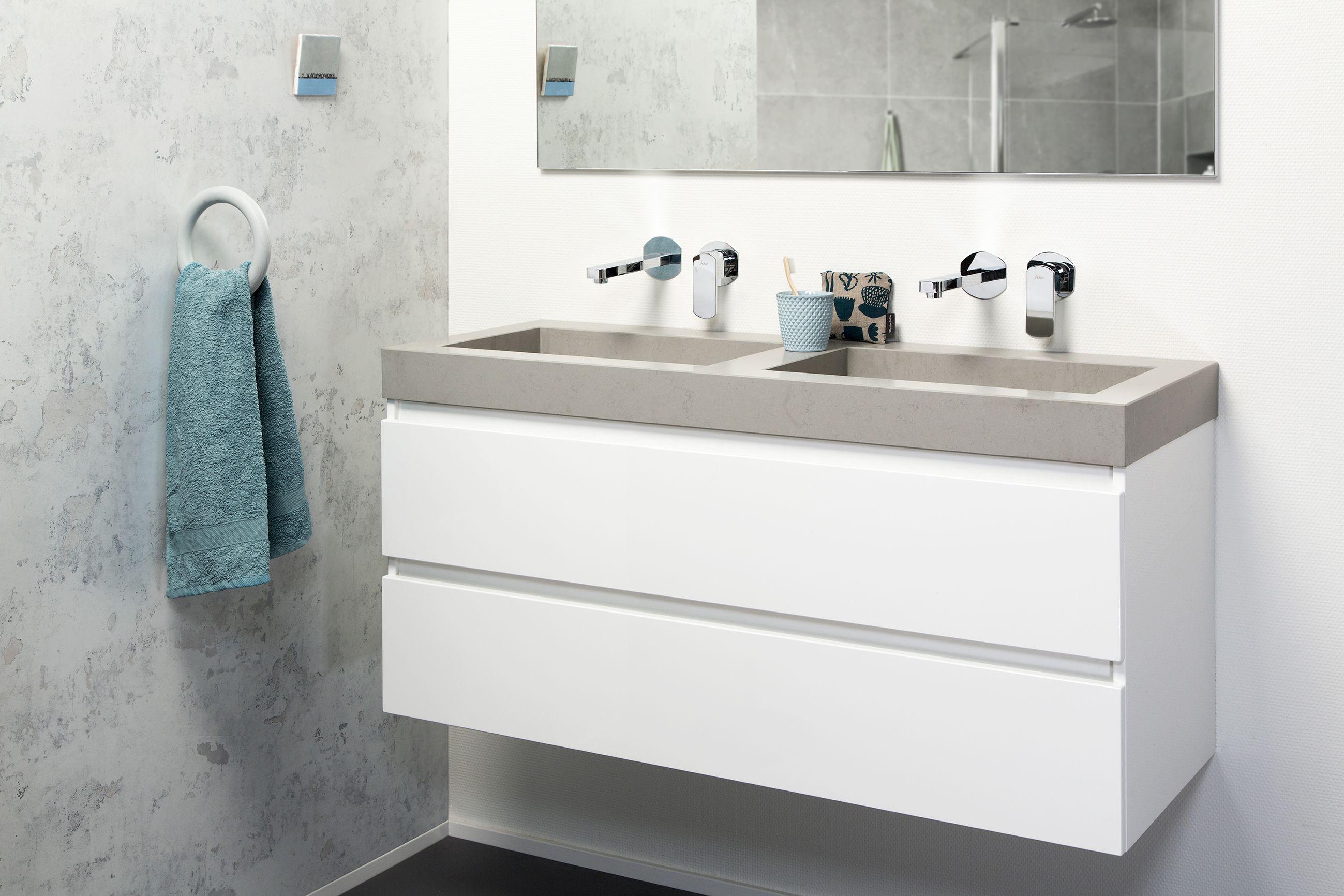 Badkamermeubel lavanto allasio in hoogglans wit met inclinata