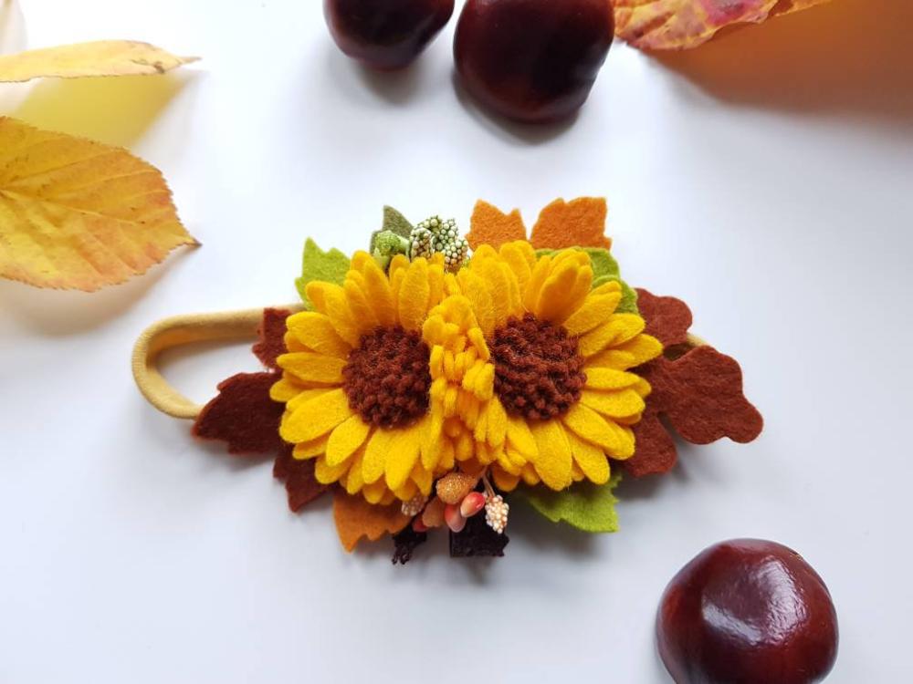Creatively by KS Sunflowers felt floral headband, Felt flower headband, nylon baby headband #feltflowerheadbands