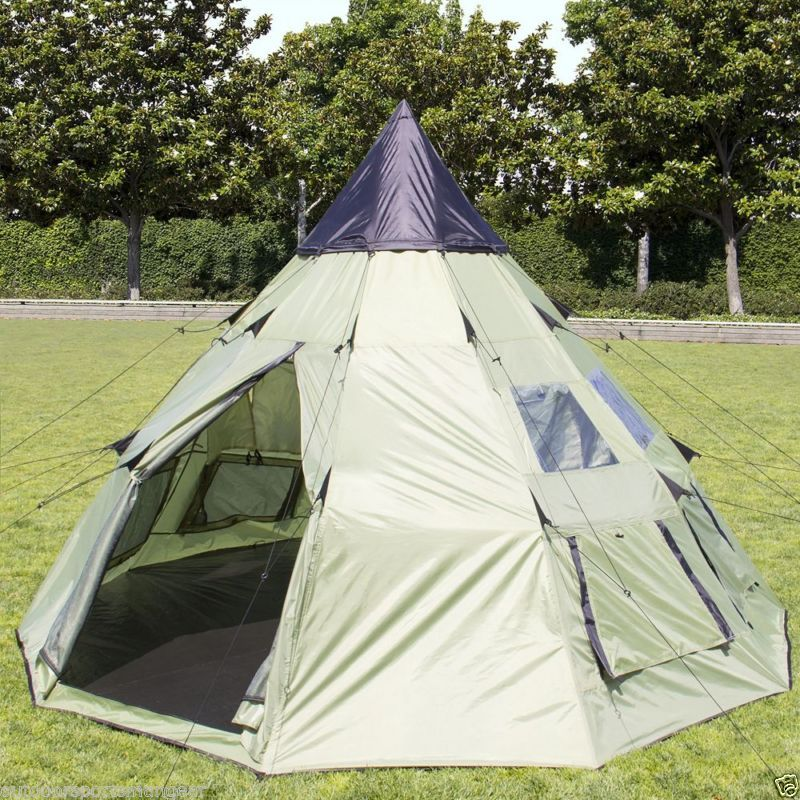 Trail Guide Spike Tent Shelter 6 P Teepee Cabin C&ing Hunting Weatherproof TP & Trail Guide Spike Tent Shelter 6 P Teepee Cabin Camping Hunting ...