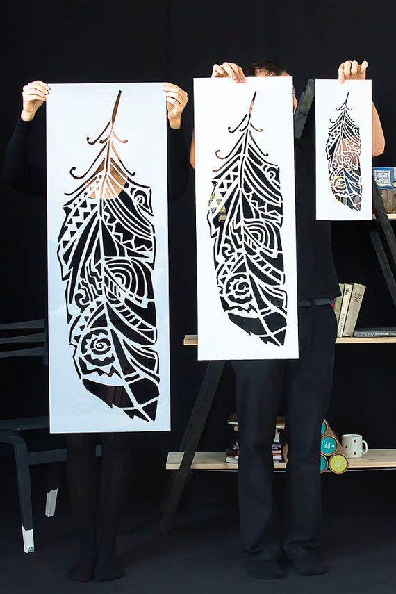 Plumes Pochoirs Muraux Scadinave Peinture Pinterest Grandes