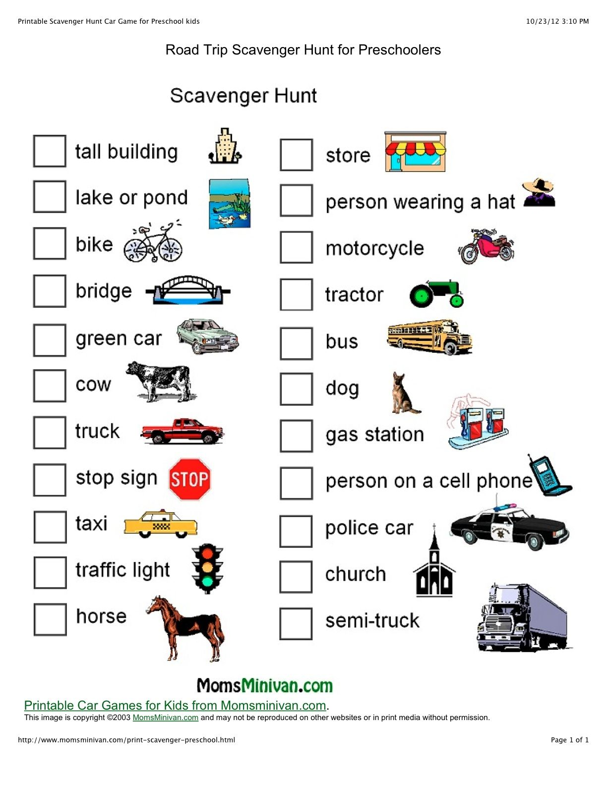 Free Printable Scavenger Hunt | have lots of other fun ...