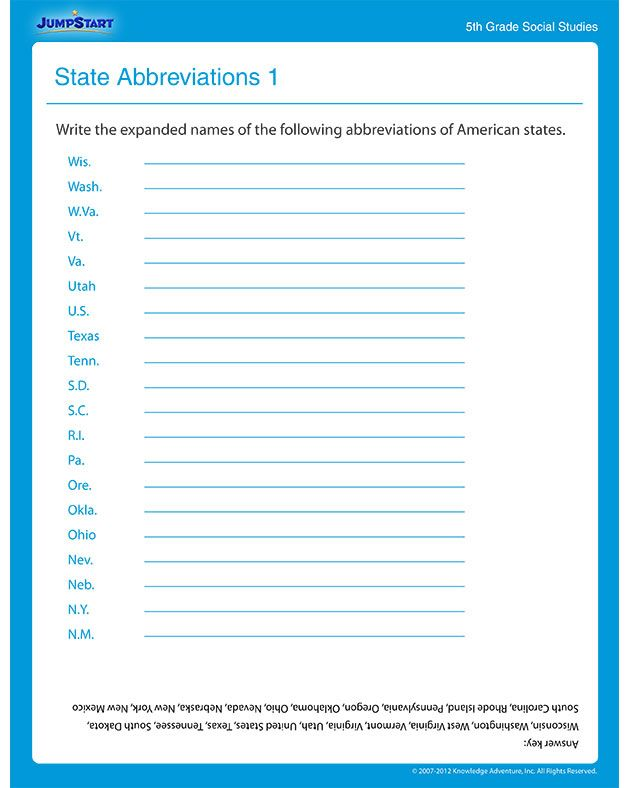 State Abbreviations 1 Social Studies Worksheets – Fifth Grade Social Studies Worksheets