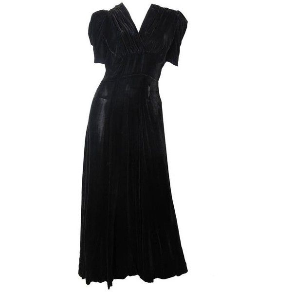 Preowned 1930s Black Velvet Gown ($350) ❤ liked on Polyvore ...