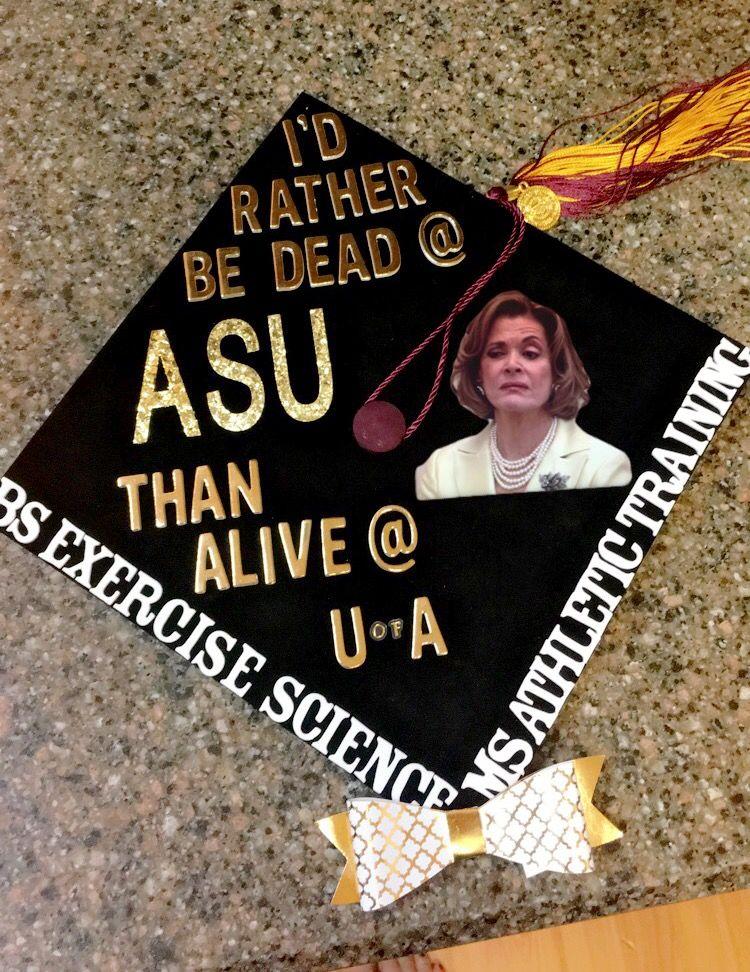 my graduation cap ASU Exercise and Wellness c/o 2017