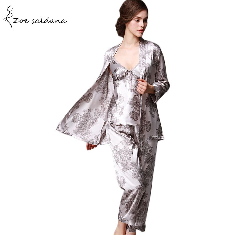603fe6cce7 ... Zoe Saldana 2017 Luxury 3 Pcs Robe Pajama Pants Sets Women Faux Silk  Sleepwear Loungewear Dragon ...