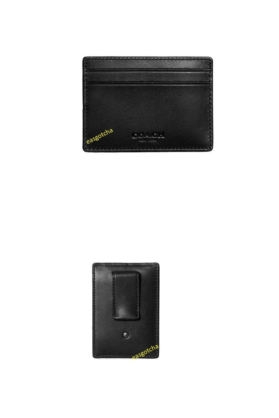 f7e8d12a372 Business and Credit Card Cases 105860  Coach F75459 Money Black Clip Card  Case Leather