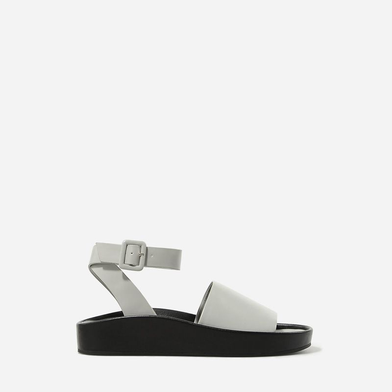 Raised Edge Sandals - Grey - Flats - Shoes   CHARLES & KEITH