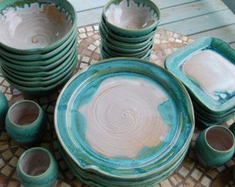 Eclectic Dinnerware Set of 4 Place Settings in Turquoise and White - Made to Order & Eclectic Dinnerware Set of 4 Place Settings in Turquoise and White ...