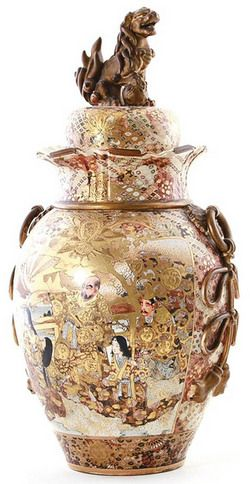 Satsuma Pottery; Japanese, Urn & Cover, Soldiers & War Scenes, Foo Lion Finial, 27 inch.