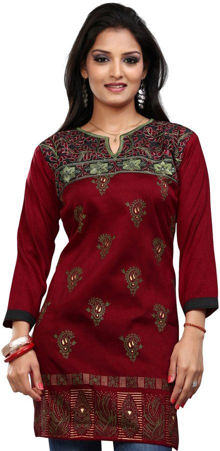 ea25eeb8fbdbb Maple Clothing Indian Kurti Top Tunic Printed Womens Blouse India Clothes  (Maroon