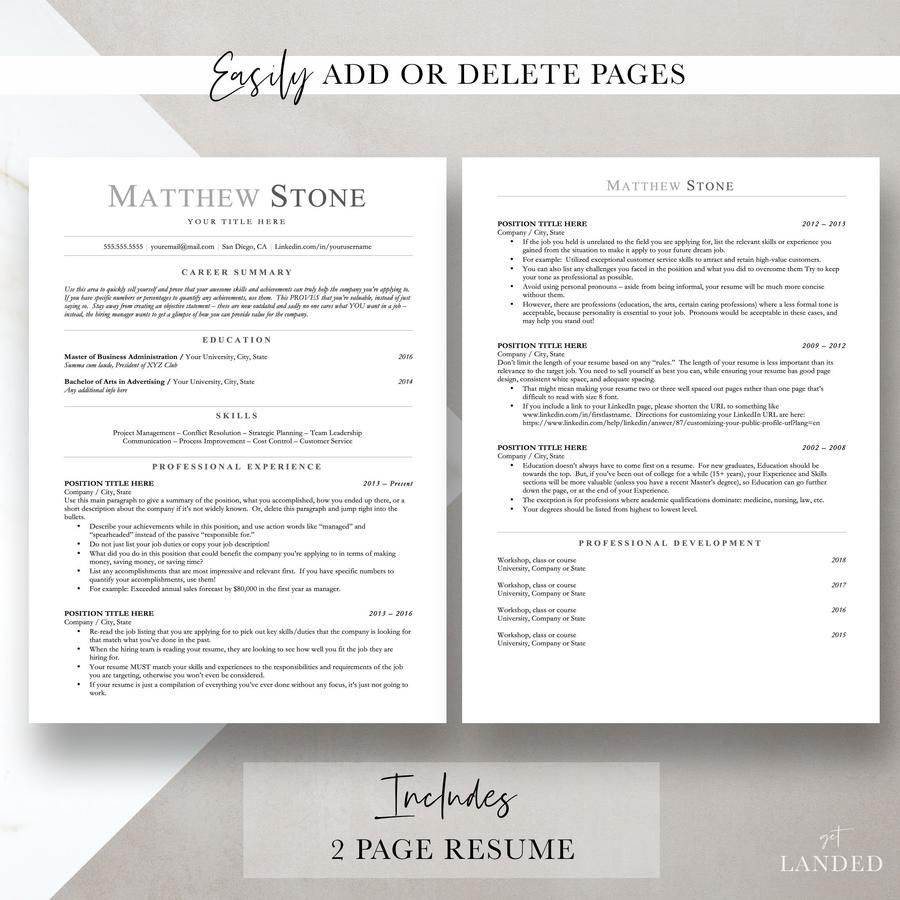 ATS Friendly Resume Template for Word, Pages, Open Office