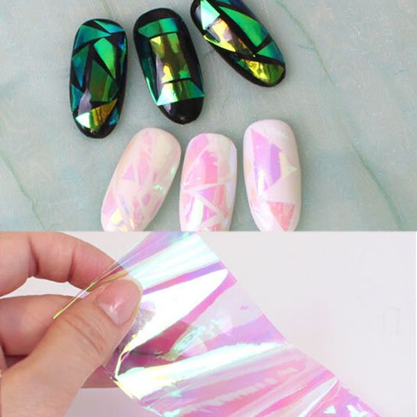 Nail Art Transfer Foil Sticker Decal Shiny Laser Holographic Paper