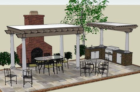 Pergola with fireplace on pinterest pergolas fireplaces for Outdoor kitchen roof structures