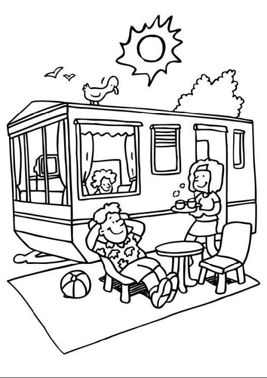 Kleurplaat van caravan   zomer-vakantie   Pinterest