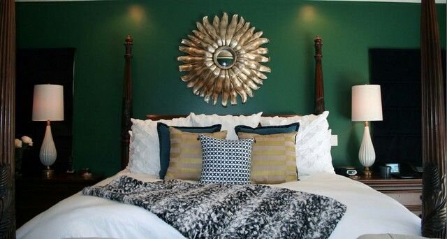 Emerald Green Gold Bedroom Transitional Decor Transitional Home Decor Transitional Design