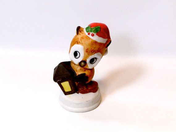 Christmas Decor Owl Figurine by SueEllensFlair on Etsy