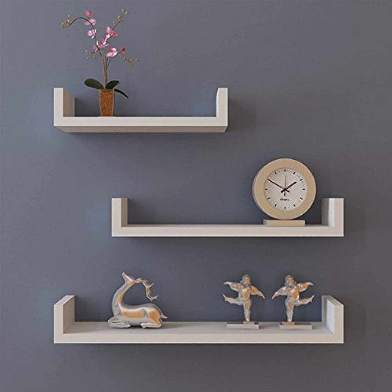 Miageek Us Stock 3 U Shape Floating Wall Mounted Shelves Storage Displaying Shelf Set Espresso Finish Wall Shelf Decor White Wall Shelves Floating Shelves