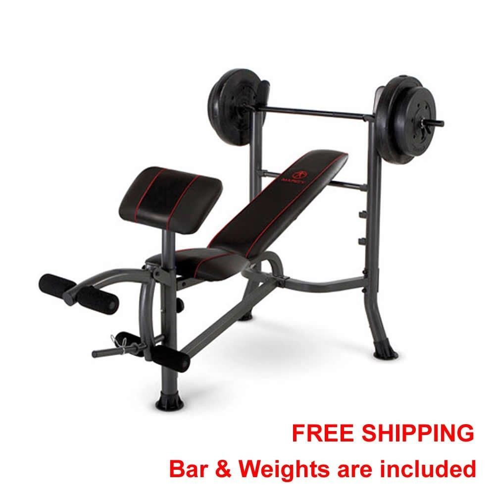 Standard Bench Press With 80lbs Of Weight Plates Home Gym Workout Bicep Curl New Weight Benches No Equipment Workout At Home Gym