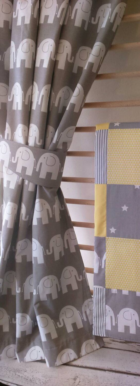 Elephant Curtains Nursery Baby S Room Tie Backs Grey D Decor