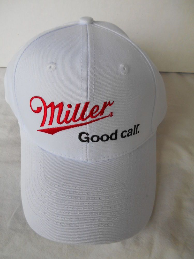 Miller Beer White Adjustable Ball Cap Hat  Genuine Draft Brewery Advertising #CAP #BaseballCap