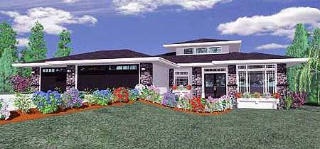 Plan 85003ms Frank Lloyd Wright Inspired Home Plan Prairie Style Houses Modern Style House Plans House Plans