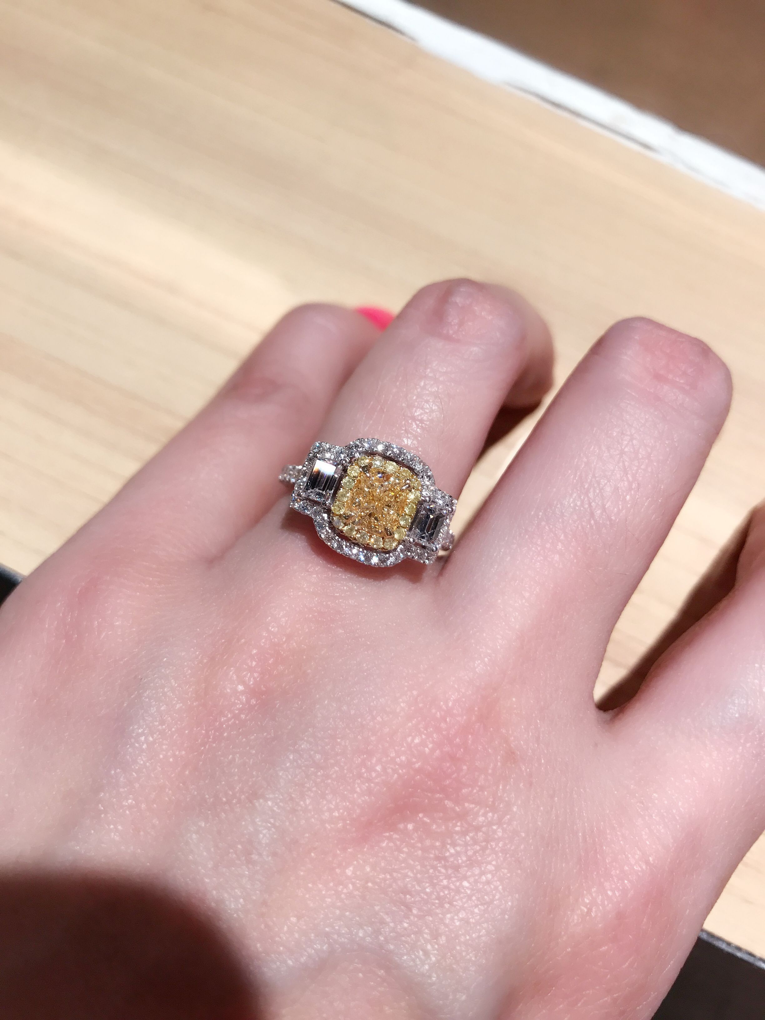 1ct princess cut fancy yellow diamond ring | Fine Jewellry designed ...