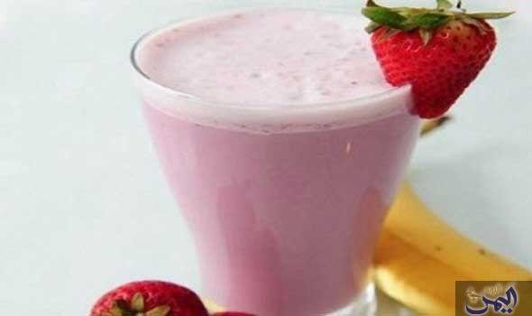 ميلك شيك الفراولة والموز Food Milk Glass Of Milk