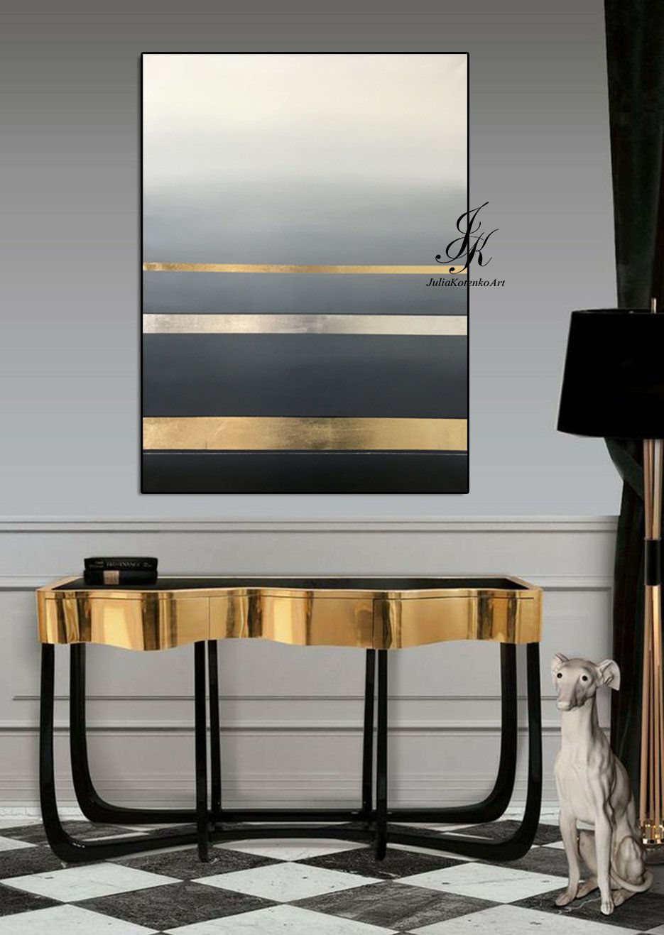 Large oil painting minimalism art abstract painting gold leaf silver