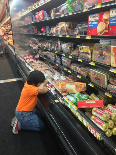 punkghost:    My brother just gave up at the sausage section