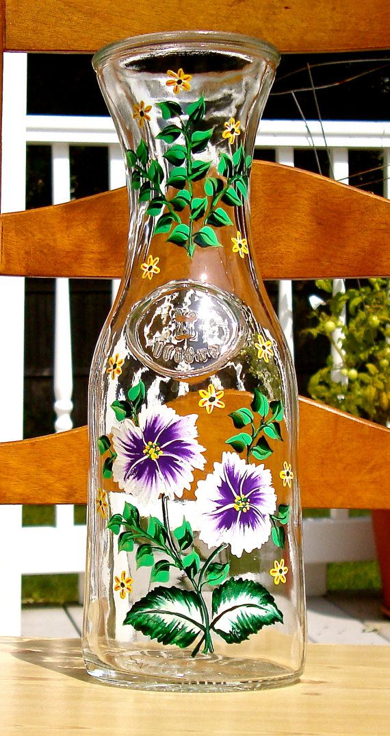 Glass Carafe With Hand Painted Purple Flowers by ipaintitpretty, $25.00 #paintedcarafe #handpaintedglasscarafe #floralcarafe