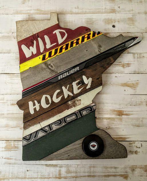 CUSTOM MN State of Hockey Art Reclaimed Wood by OldWoodNewArt - CUSTOM ORDER - MN State Of Hockey Art - Reclaimed Wood Hockey