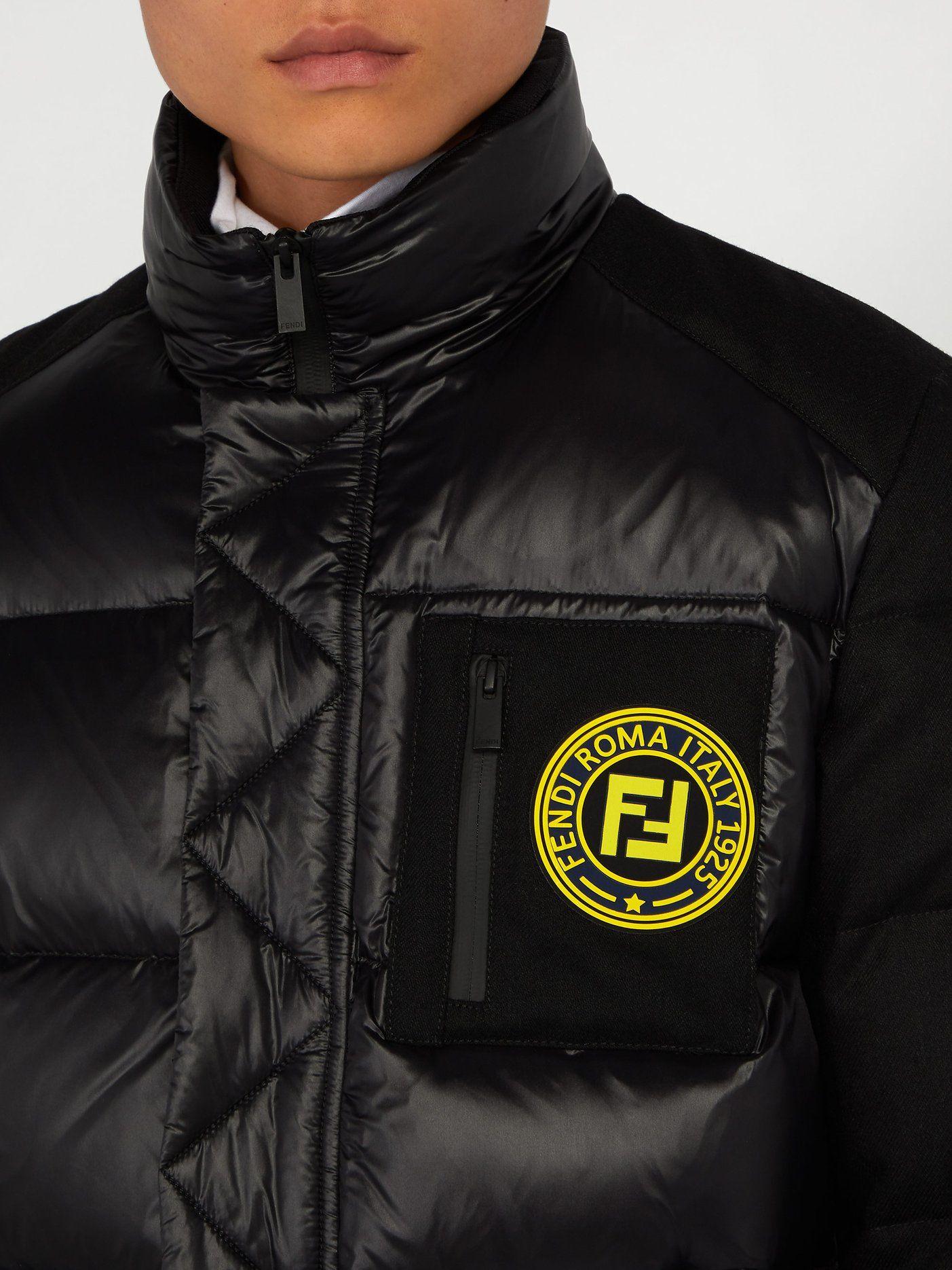 Logo Patch Puffer Jacket Fendi Matchesfashion Us Polo Shirt Design Black Puffer Jacket Puffer Jackets [ 1870 x 1403 Pixel ]