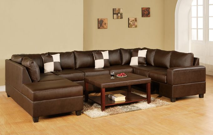 3 Pc Reversible U Shaped Sectional Sofa In Bonded Walnut