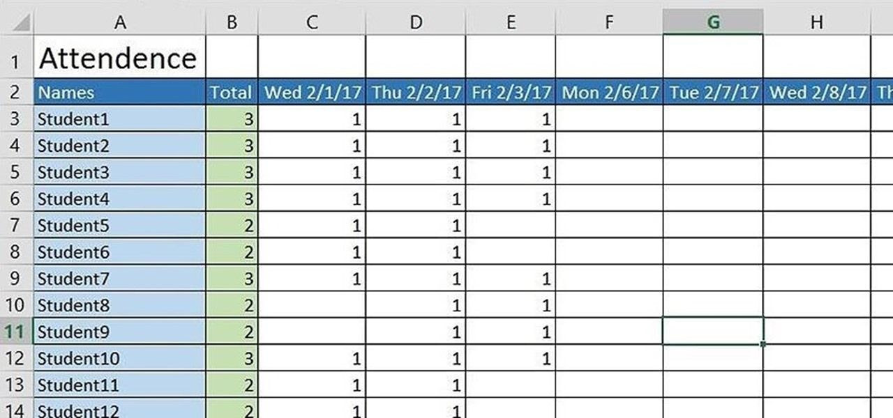 How to Create a Basic Attendance Sheet in Excel - attendance sheet for students