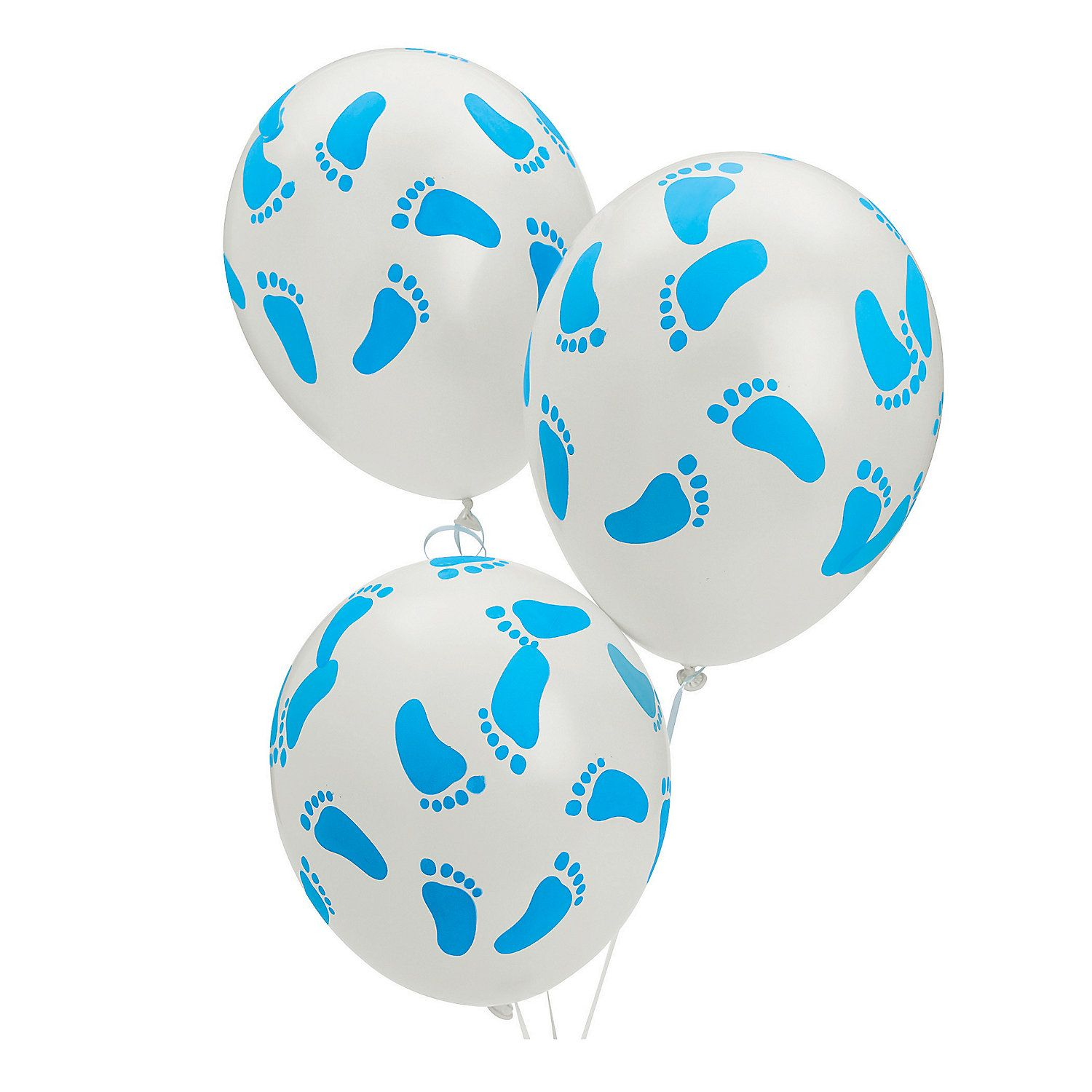 Blue Latex Baby Footprints Balloons. Welcome a newborn boy with blue footprints! These adorable balloons make a great centerpiece for the baby shower or decoration for the gift table.