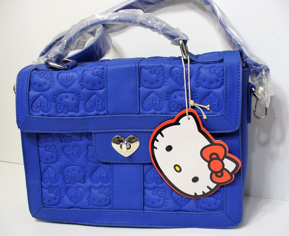 94768bee1b Loungefly Hello Kitty Blue Embossed Satchel Heart Lock Bag Purse Sanrio New   Loungefly  Satchel