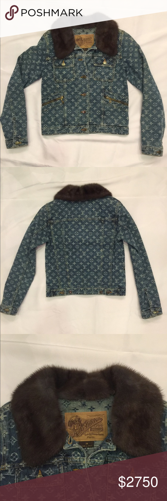 Louis Vuitton Denim Jacket and Mink Collar (With images
