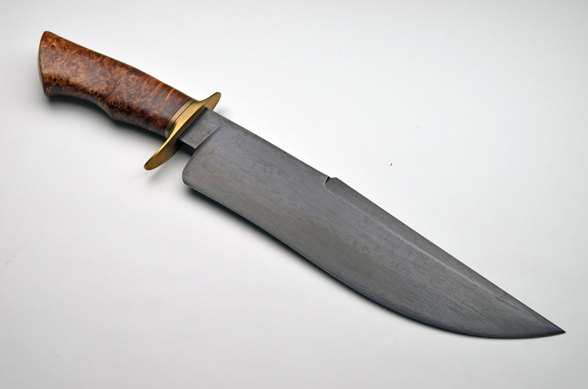 Adam DesRosier Browned Damascus Bowie/Fighter | Exquisite Knives