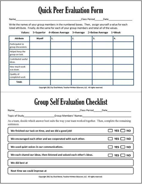 Group and peer assessment in group work -Cooperative Learning 7 - sample instructor evaluation form