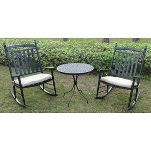 Oversized Rocking Chair 3 Piece Outdoor Bistro Set Seats