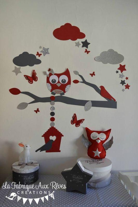 Décoration chambre enfant bébé rouge gris blanc argent hibou