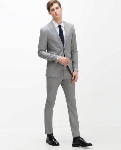 86fac389 Image 1 of GREY TEXTURED WEAVE SUIT from Zara | Suits in 2019 | Zara ...