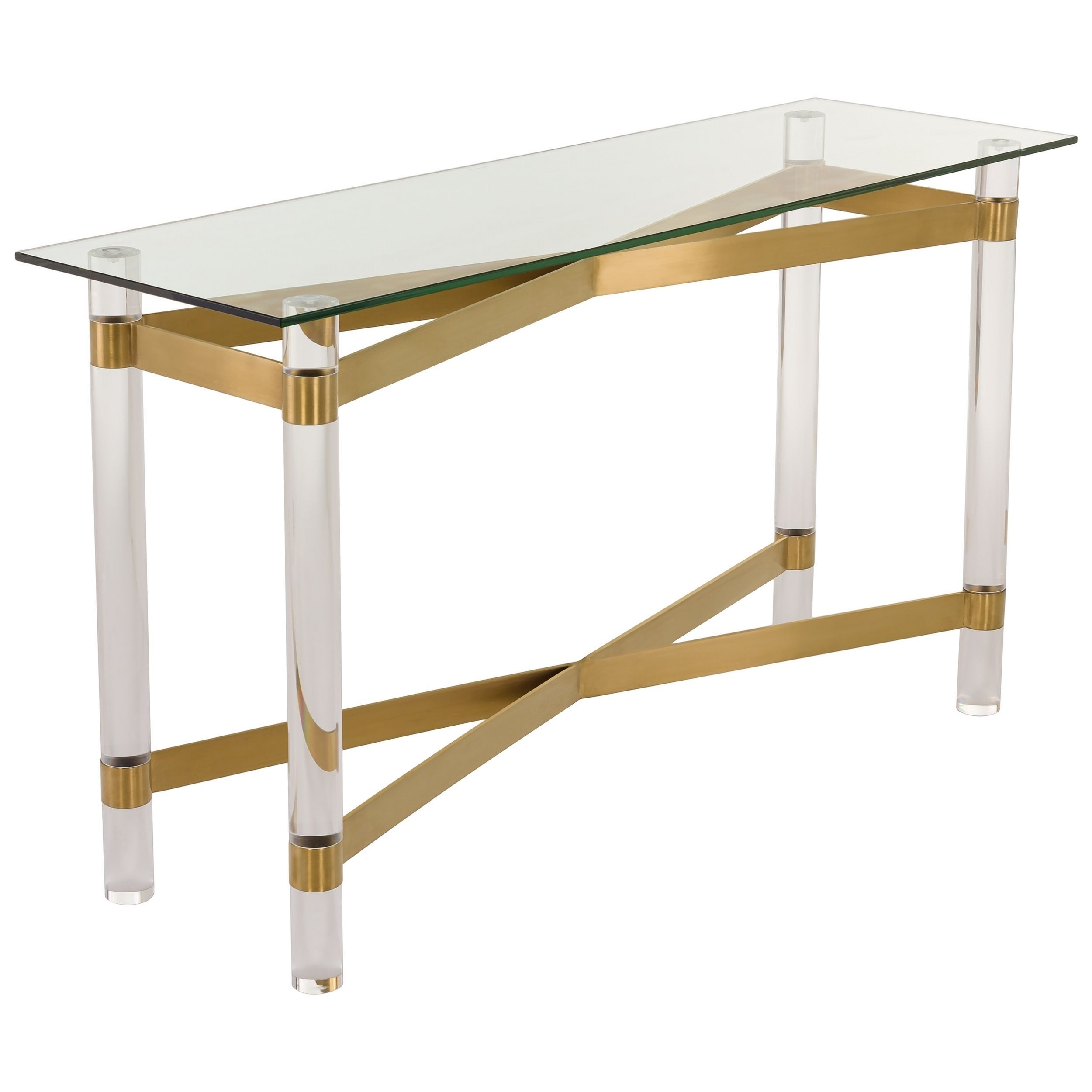 Glass console table with shelf safavieh couture collection lainey bronze brass console table
