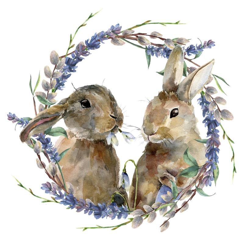 Watercolor easter bunny clipart. Easter rabbits cl