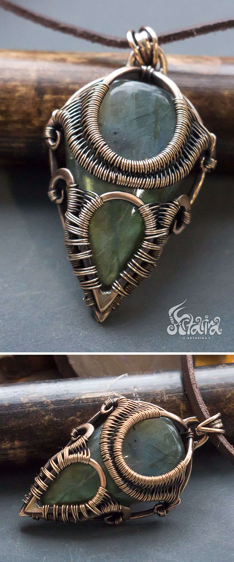 Bronze wire wrap pendant with labradorite
