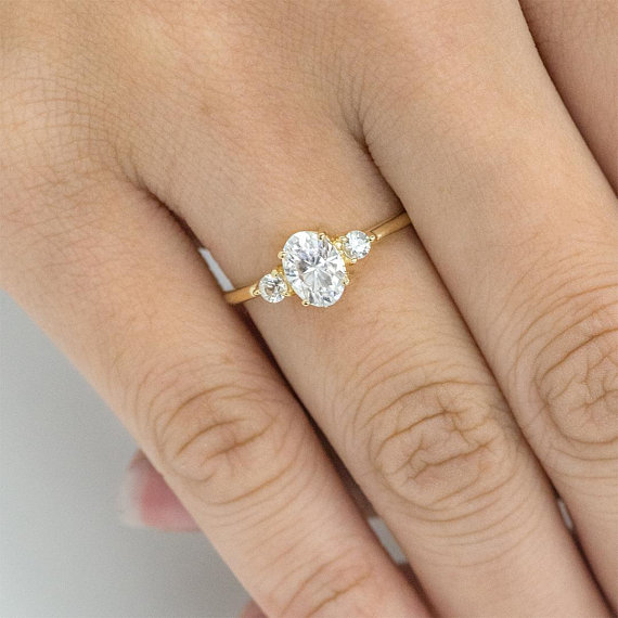 d866eb4f9b534 Three Stone Engagement Ring, Forever One 7 x 5MM Oval Moissanite and ...