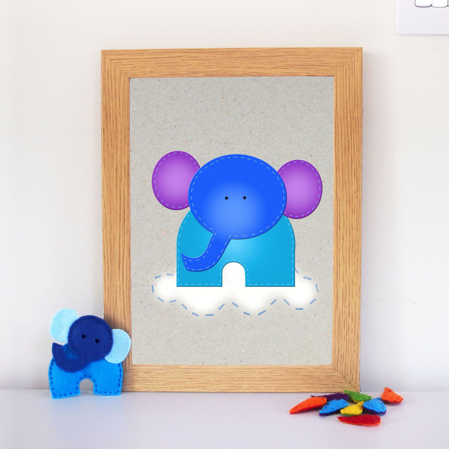 Play room wall decor baby gift elephant nursery art kids elephant