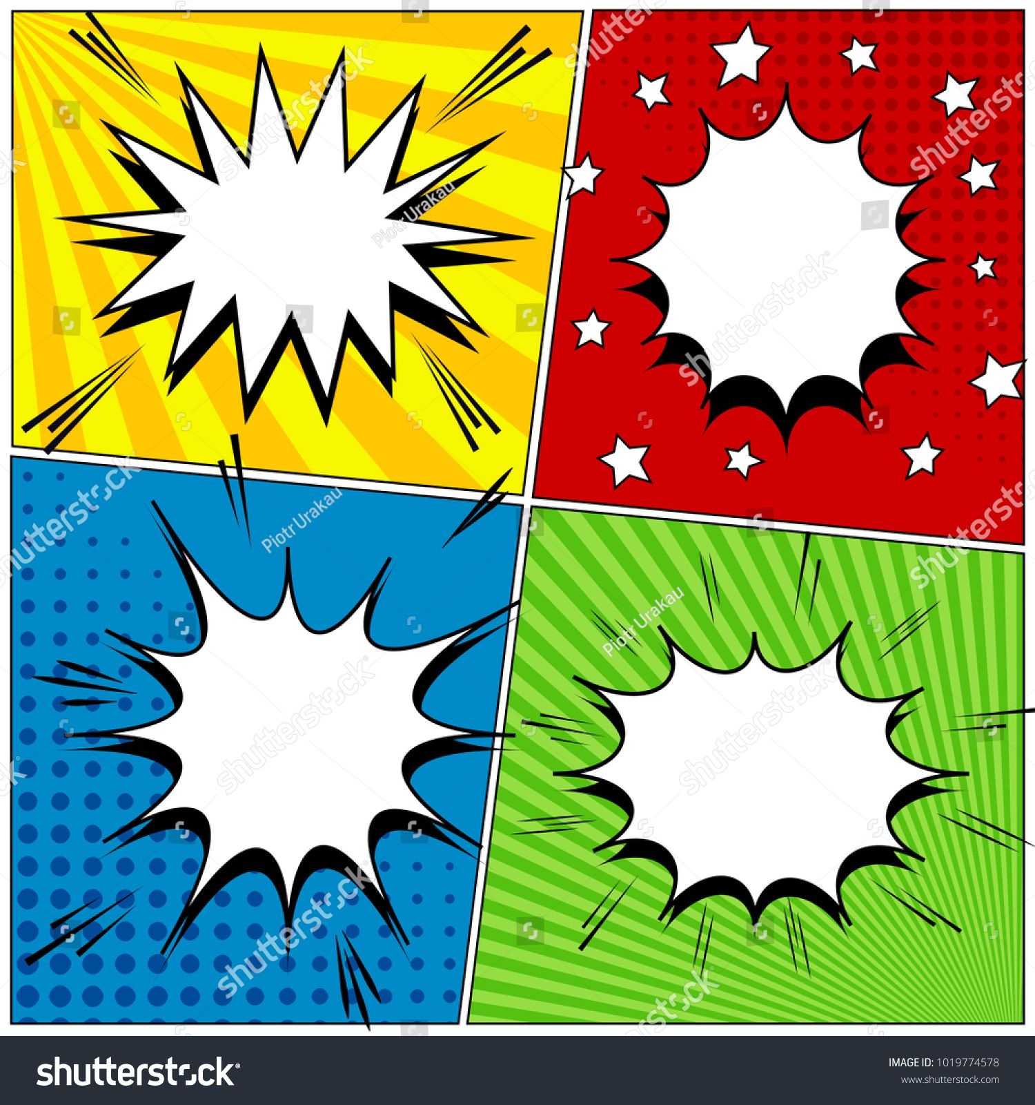 Comic book page background with four colorful scenes blank
